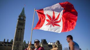 Une manifestation pour la légalisation du cannabis à Ottawa, le 20 avril 2016.