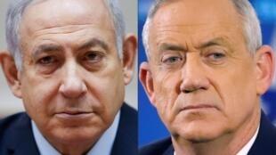 رئيس الوزراء المنتهية ولايته بنيامين نتنياهو ومنافسه السابق بيني غانتس