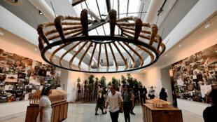 Un projet architectural fait de bambous réalisé par Simon Velez et présenté à la Biennale de Venise, jeudi 26 mai 2016.