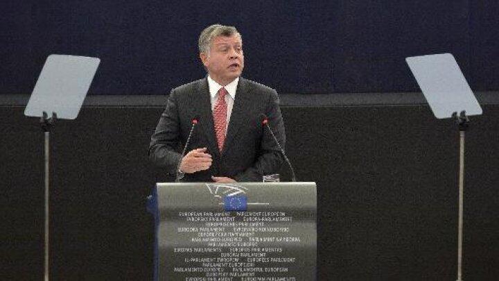 العاهل الأردني عبدالله الثاني يلقي كلمة في البرلمان الأوروبي في ستراسبورغ الثلاثاء 10 آذار/ مارس 2015