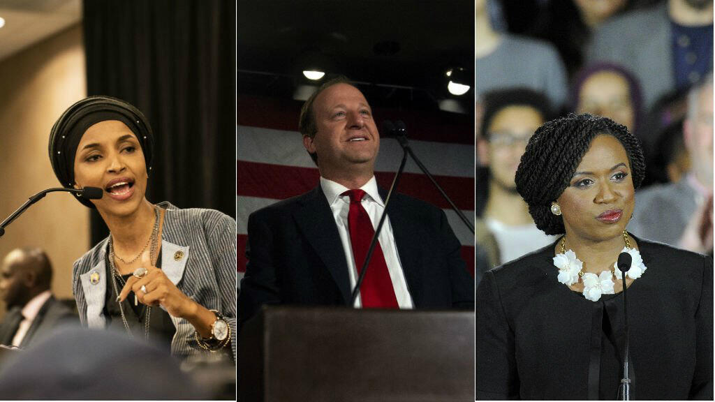 AFP | Minnesota's Ilhan Omar (left), Colorado's Jared Polis (centre), and Massachusetts' Ayanna Pressley (right).