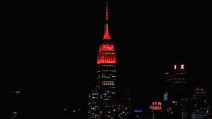 The Empire State Building (shown red to honor New York's fight against COVID-19 on April 16, 2020) synched its lights for Billy Joel's 'Miami 2017' telethon performance
