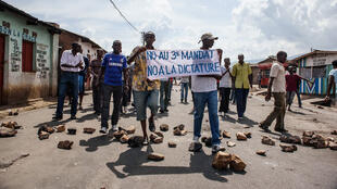 Protesters rally against President Pierre Nkurunziza's bid for a third term in Bujumbura on May 16