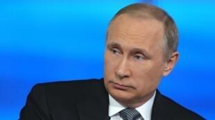 Vladimir Poutine lors d'une intervention télévisée, le 14 avril 2016.