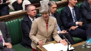 رئيسة الوزراء البريطانيةتيريزا ماي في مجلس العموم 29 مارس/آذار 2019