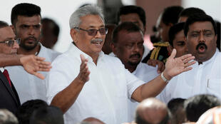 Sri Lanka's President-elect Rajapaksa gestures during the presidential swearing-in ceremony in Anuradhapura on November 18, 2019.