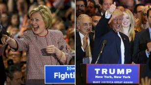 Donald Trump et Hillary Clinton saluent leurs partisans le 19 avril 2016.