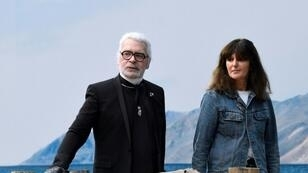 The late Karl Lagerfeld is shown here in October with his right-hand woman Virginie Viard, who has taken over the reins of Chanel