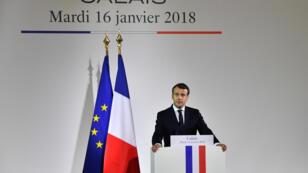 Le président Emmanuel Macron à Calais, le 16 janvier 2018.
