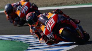 El piloto español de Repsol Honda Alex Márquez entrena para el Gran Premio de España de MotoGP el 15 de julio de 2020 en Jerez de la Frontera