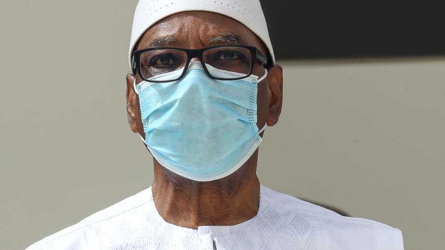 Ousted Malian President Ibrahim Boubacar Keita wears a face mask  during the G5 Sahel summit on June 30, 2020, in Nouakchott.