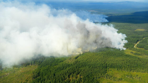 Aerial image shows the Forest fires burning near Ljusdal, Sweden on July 18, 2018.