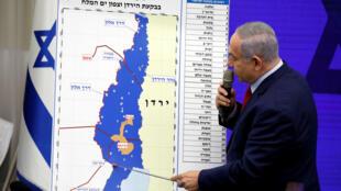 El primer ministro israelí, Benjamin Netanyahu, hace una declaración en Ramat Gan, cerca de Tel Aviv, Israel, el 10 de septiembre de 2019.