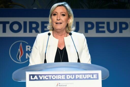 La présidente du Rassemblement national, Marine Le Pen, le 26 mai 2019 à Paris.