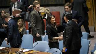 L'ambassadrice américaine Nikki haley salue l'ambassadeur israélien Danny Danon le 18 décembre 2017.