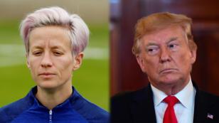 A la izquierda, Megan Rapinoe, jugadora de la selección femenina de Estados Unidos y a la derecha el presidente Donald Trump.