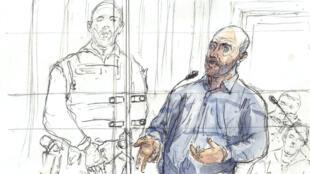 Un dessin représentant Redoine Faïd lors de son procès à Paris, le 2 mars 2016.
