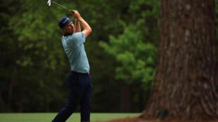 Le golfeur anglais Justin Rose lors du 2e tour du Masters, le 9 avril 2021 à Augusta en Géorgie