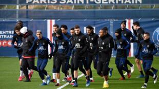 Les joueurs du Paris-SG à l'entraînement à Saint-Germain-en-Laye, le 3 mars 2020