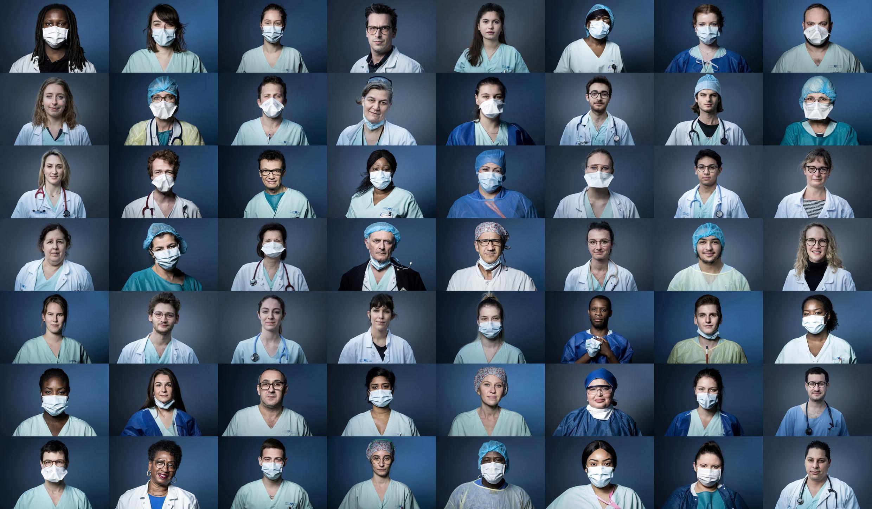 Des portraits de médecins de l'hôpital Georges Pompidou à Paris, le 3 avril, mobilisés  dans la lutte contre le Covid-19.