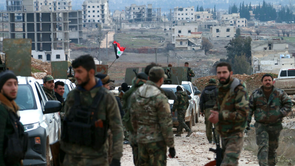 Syrian government troops advance in the Tall Chwayhneh region towards the New Aleppo district, west of the city of Aleppo, Syria on February 16, 2020.