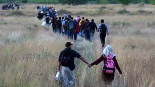 Migrants qui passent à pied la frontière entre la Grèce et la Macédoine, le 22 août 205