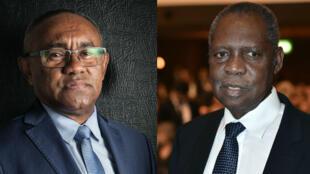 Le Malgache Ahmad Ahmad (à g.), et le Camerounais Issa Hayatou (à d.) étaient en lice pour la présidence de la CAF.