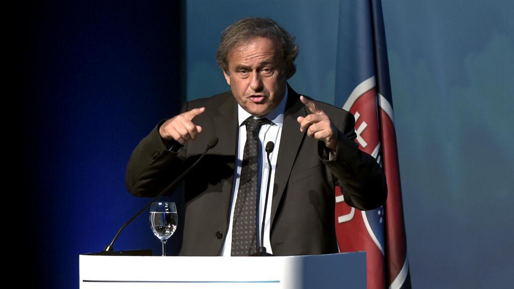 Michel Platini à l'ouverture du sommet extraordinaire de l'UEFA, à Lagonissi, en Grèce, le 14 septembre 2016.