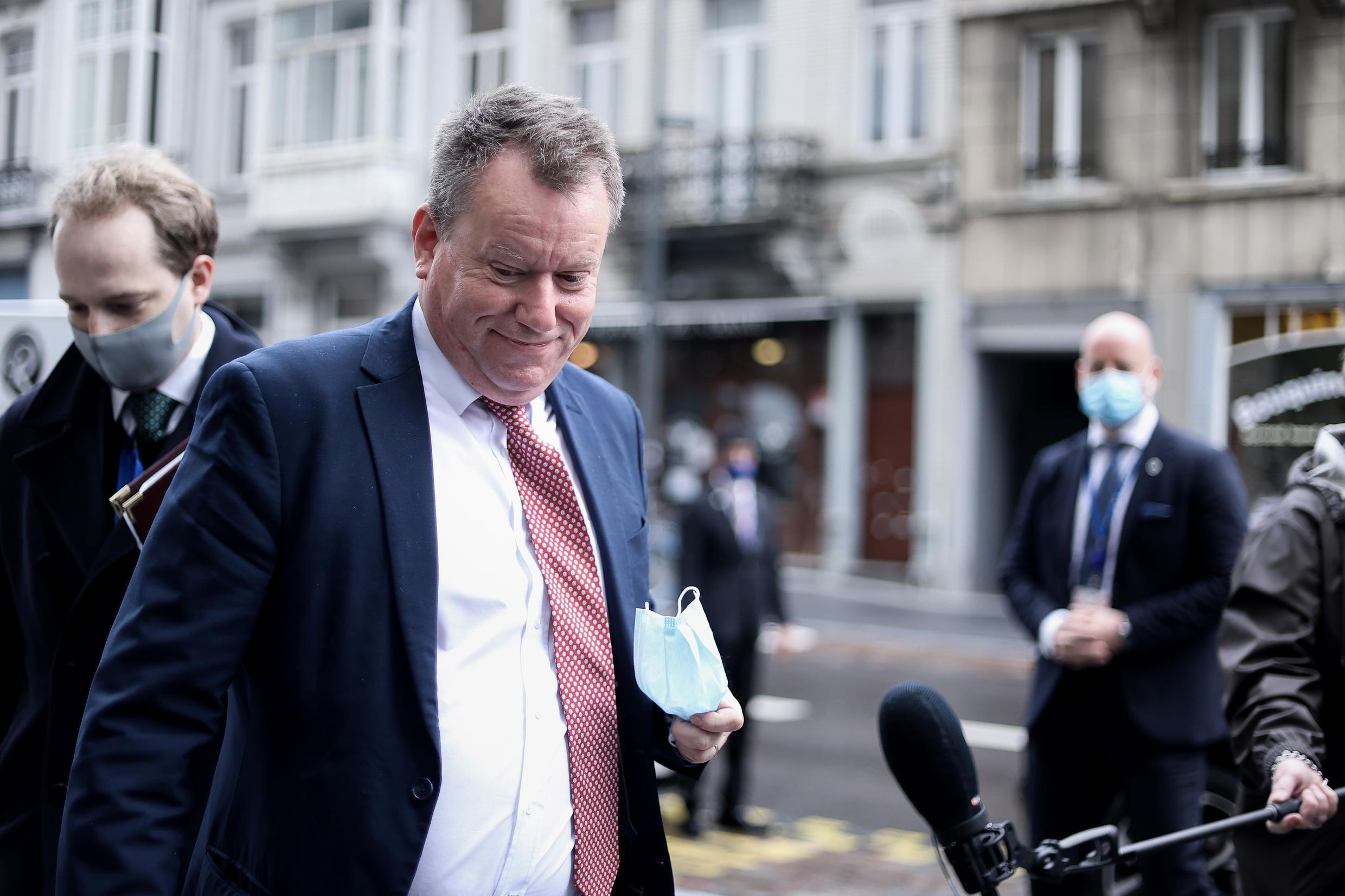 Britain's chief Brexit negotiator David Frost arrives for a meeting with the head of the European Commission's Working Group for Relations with Britain in Brussels on November 16, 2020.