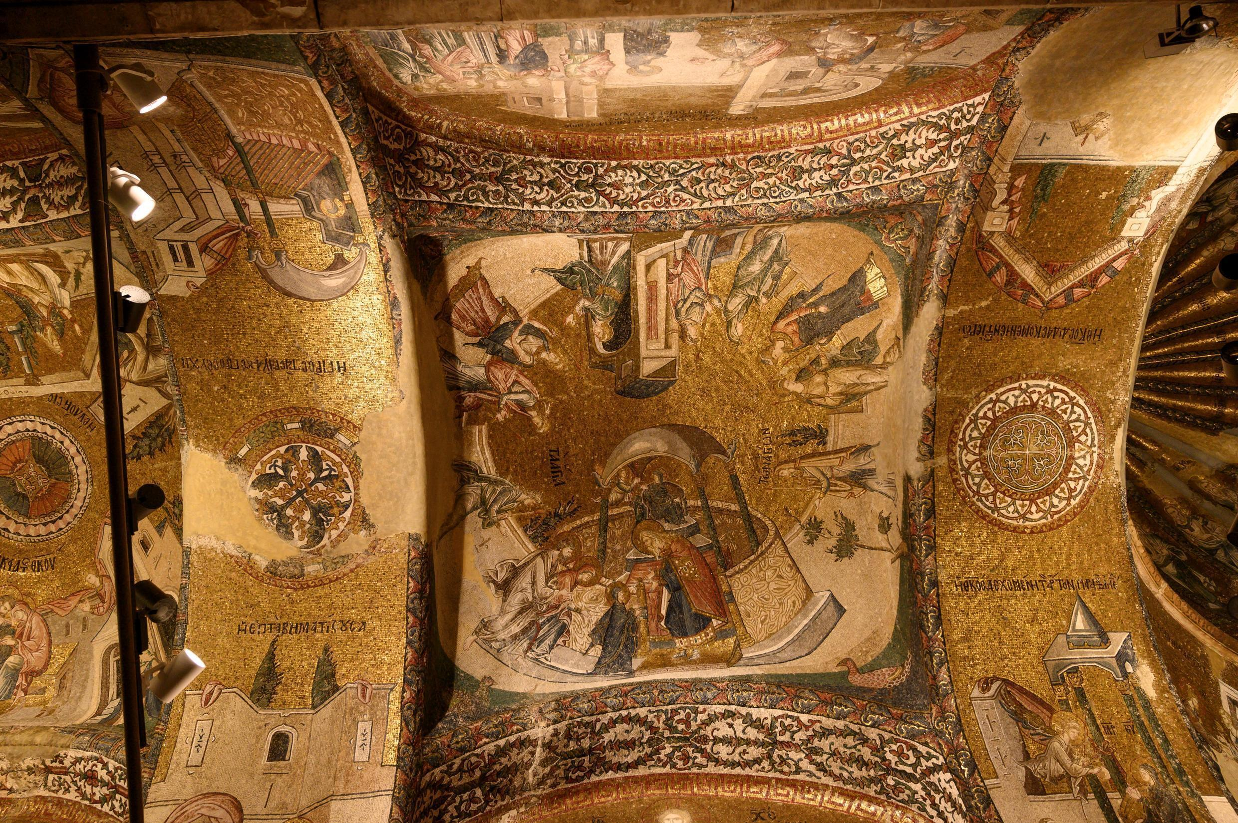 A view of the ceiling of the Chora or Kariye Museum, formally the Church of the Holy Saviour, a medieval Byzantine Greek Orthodox church, decorated with 14th-century frescoes of the Last Judgement, in the Fatih district in Istanbul on August 21, 2020.