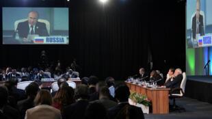 El presidente ruso, Vladimir Putin, se dirige a los líderes de África durante la jornada de la cumbre Brics llevada a cabo el 27 de julio de 2018.