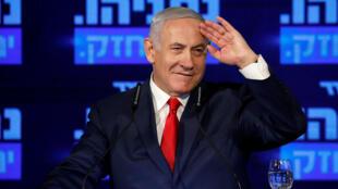 El primer ministro israelí, Benjamin Netanyahu, pronuncia un discurso en el lanzamiento de su campaña electoral del partido Likud en Ramat Gan, Israel, el 4 de marzo de 2019.