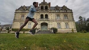 Half-marathon runner Yosi Goasdoué trains in the park of the Château de la Bourdaisière in the French town of Montlouis-sur-Loire during the country's nationwide lockdown during the coronavirus pandemic.