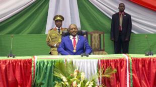 Le président burundais Pierre Nkurunziza lors de la cérémonie d'investiture pour son troisième mandat, le 20 août 2015 à Bujumbura.