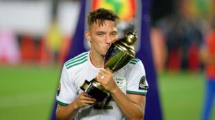 Ismaël Bennacer a remporté la Coupe d'Afrique avec l'Algérie, le 19 juillet 2019, au Caire.