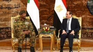 The head of Sudan's military council, General Abdel Fattah al-Burhan (L), met last week with Egyptian President Abdel Fattah al-Sisi ahead of a visit to Saudi Arabia this week