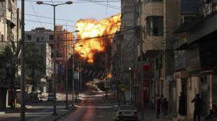 غارة جوية إسرائيلية على غزة في 14 أيار/مايو 2021