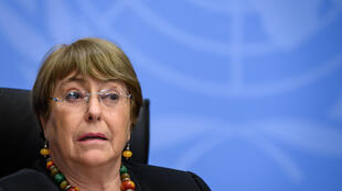 Michelle Bachelet, durante una rueda de prensa el 9 de diciembre de 2020 en la ciudad suiza de Ginebra