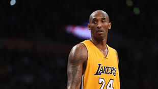 (FILES) In this file photo taken on November 21, 2015 Kobe Bryant (24) of the Los Angeles Lakers looks on during the Lakers NBA match up with the Toronto Raptors,at Staples Center in Los Angeles, California. - According to multiple US media sources,  Kobe Bryant died in a helicopter crash in Calabasas, California on January 26, 2020.