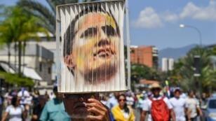 Une manifestation pro-Guaido avant son retour attendu, le 4 mars 2019.