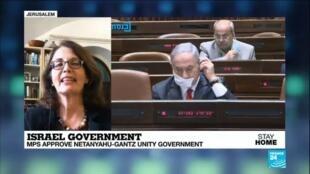 2020-05-07 15:02 Israel's parliament approves Netanyahu-Gantz coalition government, FRANCE 24's Irris Makler reports