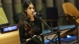 La iraquí Nadia Murad, víctima del grupo yihadista Estado Islámico, se ha convertido en portavoz de la comunidad yazidí, en una imagen del 9 de marzo de 2017 durante un discurso en la sede de Naciones Unidas en Nueva York