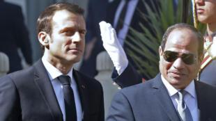 Emmanuel Macron et Abdel Fattah al-Sissi au Caire le 28 janvier.
