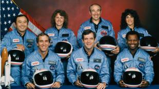 Portrait de groupe de la navette spatiale Challenger.