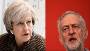 رئيسة الوزراء البريطانية المحافظة تيريزا ماي ومنافسها العمالي جيريمي كوربن