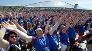 Supporters islandais au Parc Zariadié de Moscou, en Russie, le 16 juin 2018, lors du match Argentine-Islande.
