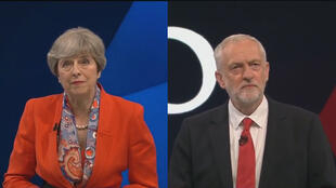 رئسة الوزراء البريطانية تيريزا ماي ومنافسها جيريمي كوربن  الذي يقود حزب العمال