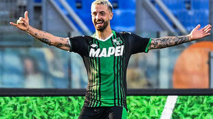 Francesco Caputo, seen here celebrating after scoring against Lazio in July, has three goals three matches into the new season