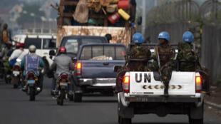Des casques bleus patrouillent à Goma, en République démocratique du Congo, le 21 avril 2016.