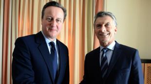 Le Premier ministre britannique David Cameron et le président argentin Mauricio Macri, lors du forum de Davos en janvier 2016.